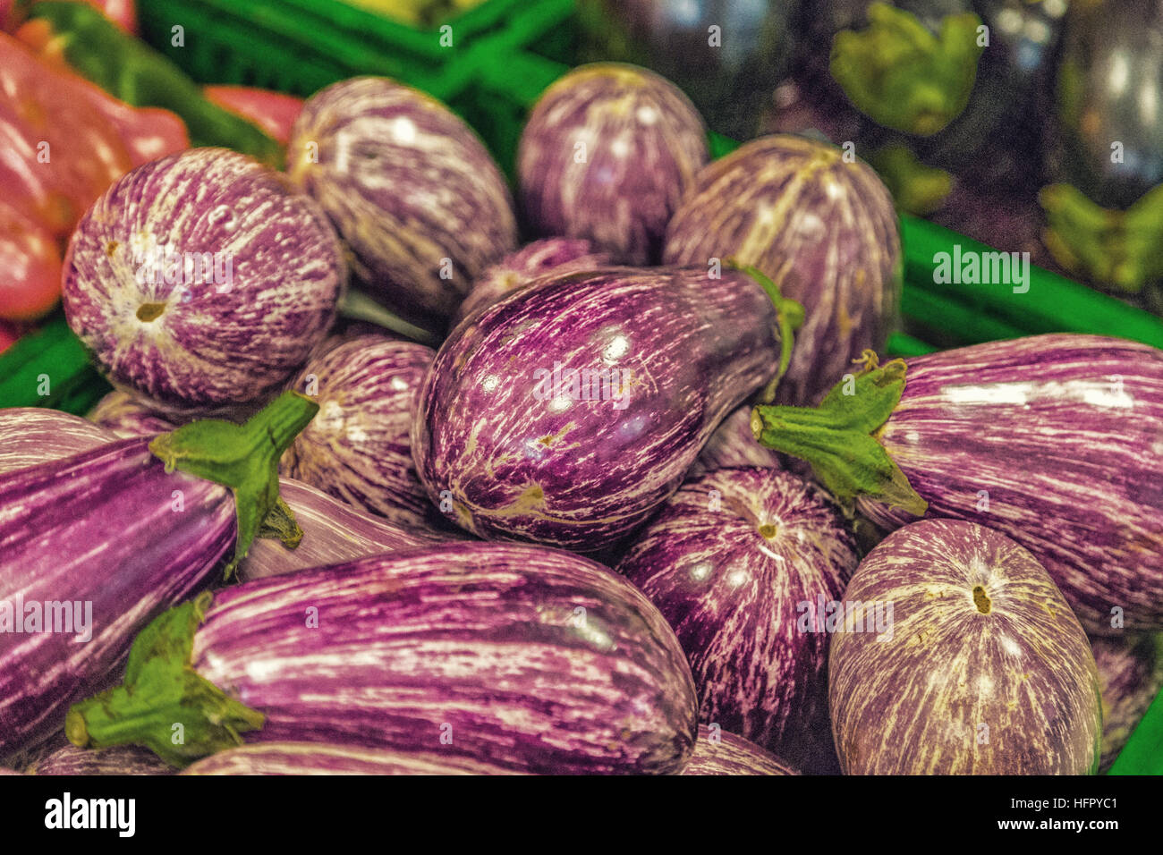 32f23f4f1c striped eggplant in green box for sale on the vegetable counter ...