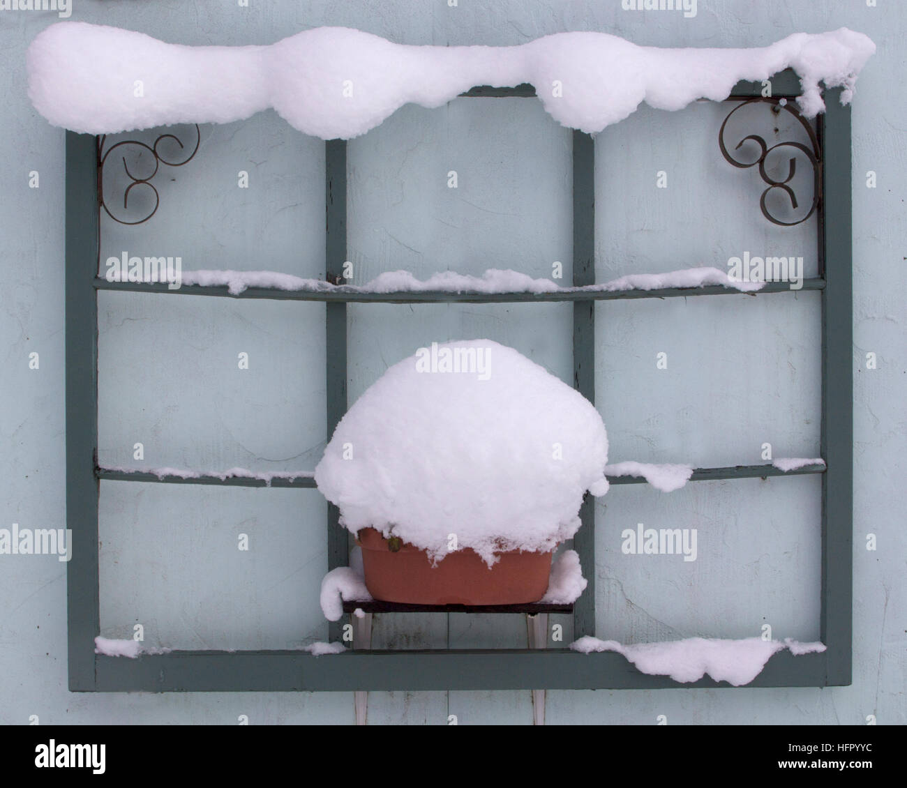 A decorative window frame with a snow border Stock Photo: 130197296 ...