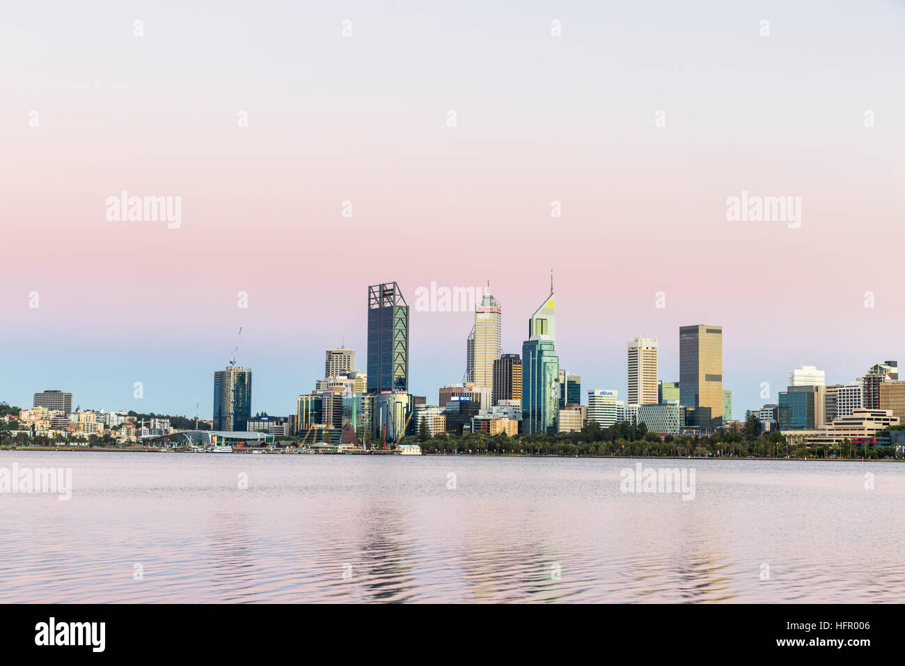 View across the Swan River to the city skyline from the South Perth foreshore, Perth, Western Australia, Australia - Stock Image