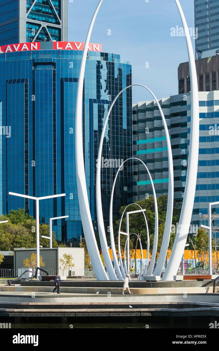 The Spanda sculpture at Elizabeth Quay, Perth, Western Australia, Australia - Stock Image