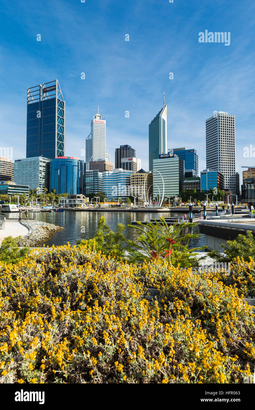 View across Elizabeth Quay to the city skyline, Perth, Western Australia, Australia - Stock Image
