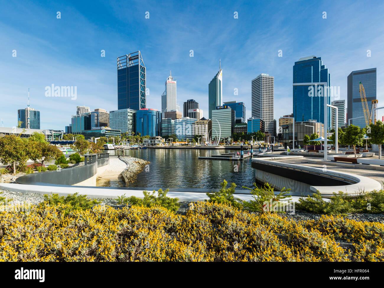 View across Elizabeth Quay to the city skyline, Perth, Western Australia, Australia - Stock Image