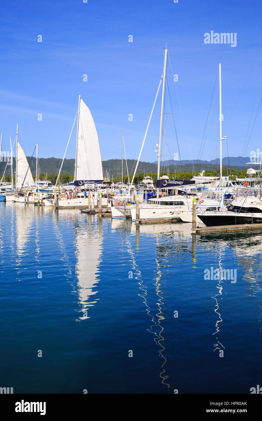 Yachts moored at Port Douglas Marina. Queensland, Australia - Stock Image
