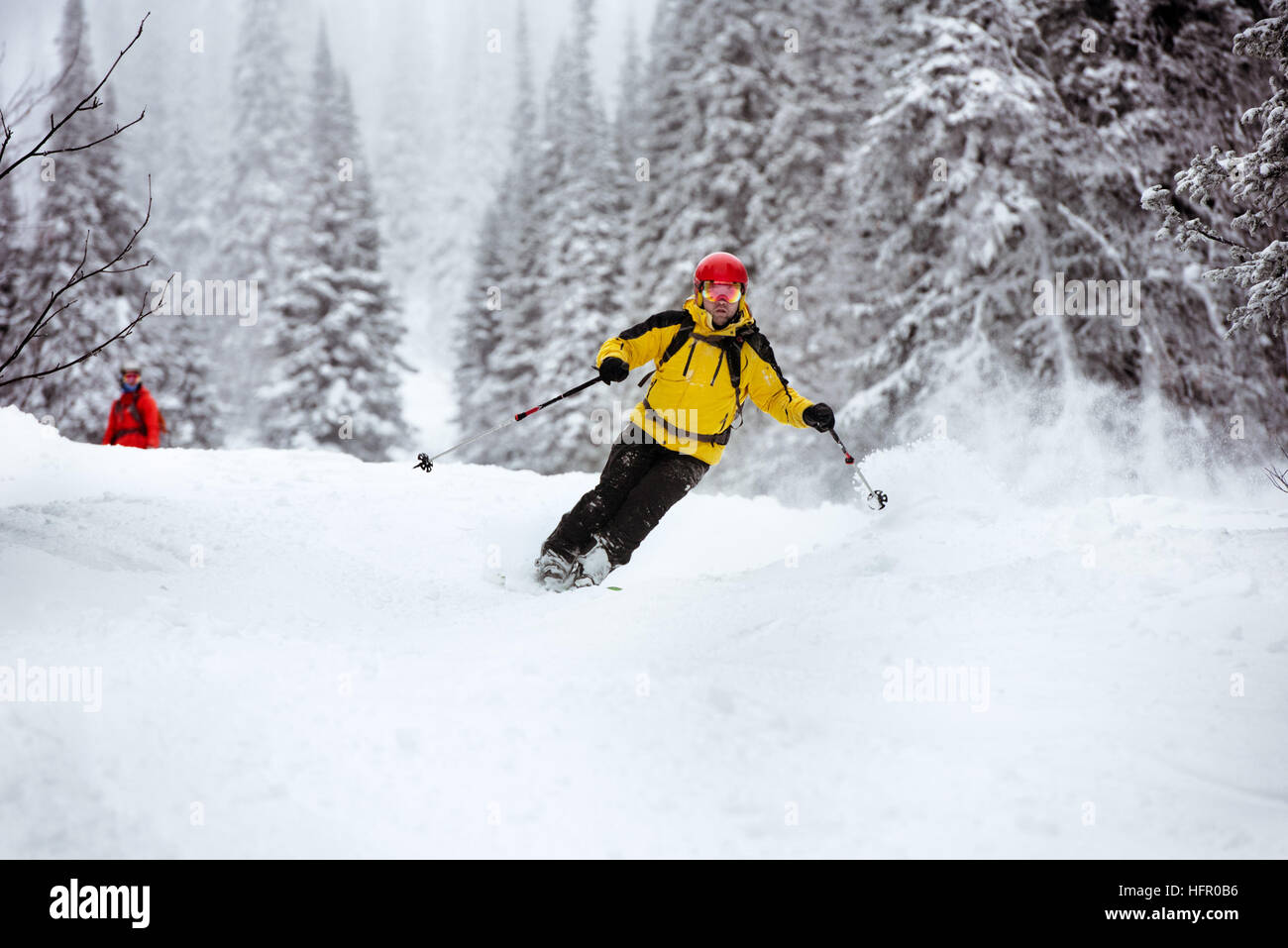 Ski skier off-piste backcountry resort - Stock Image