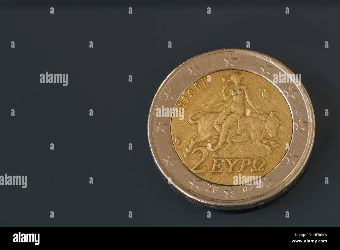 Two, 2 Euro coin from Greece, regular mint, Europa riding the bull - Stock Image