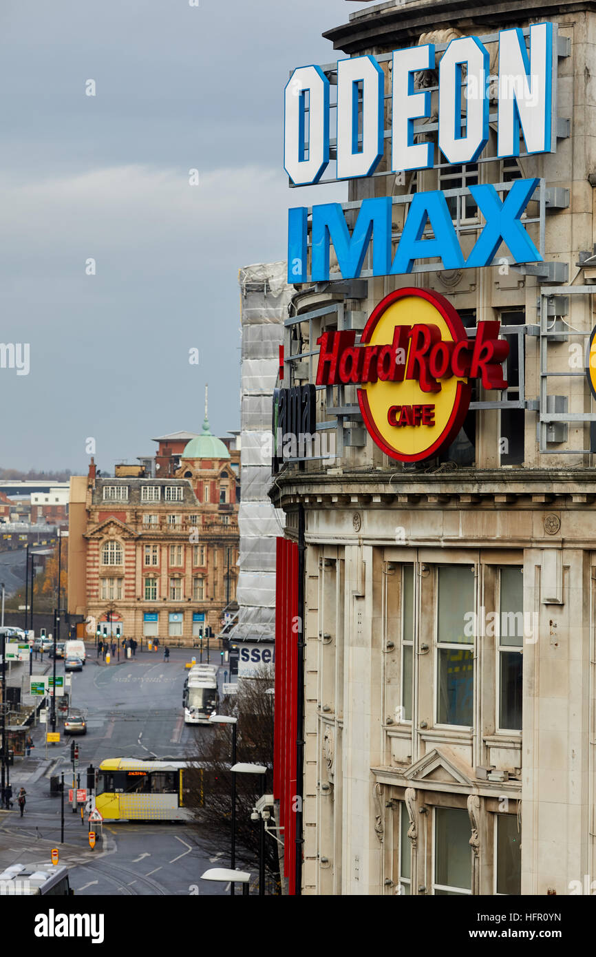 Manchester landmark view Urbis Printworks    entertainment venue cinema clubs eateries located corner of Withy Grove - Stock Image