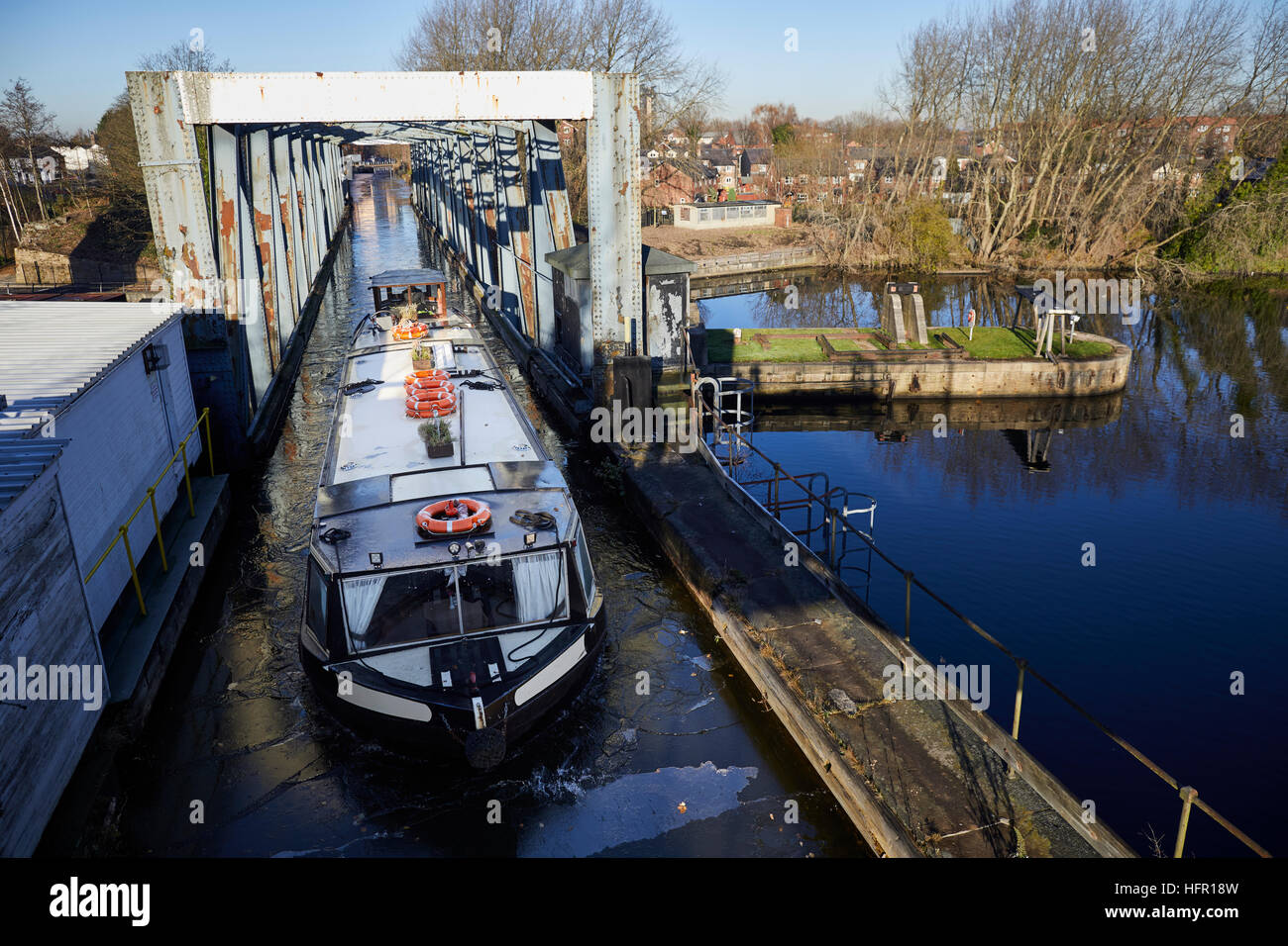 Manchester  Ship Canal Barton Swing Aqueduct  moveable navigable aqueduct carries Bridgewater Canal narrowboats Stock Photo