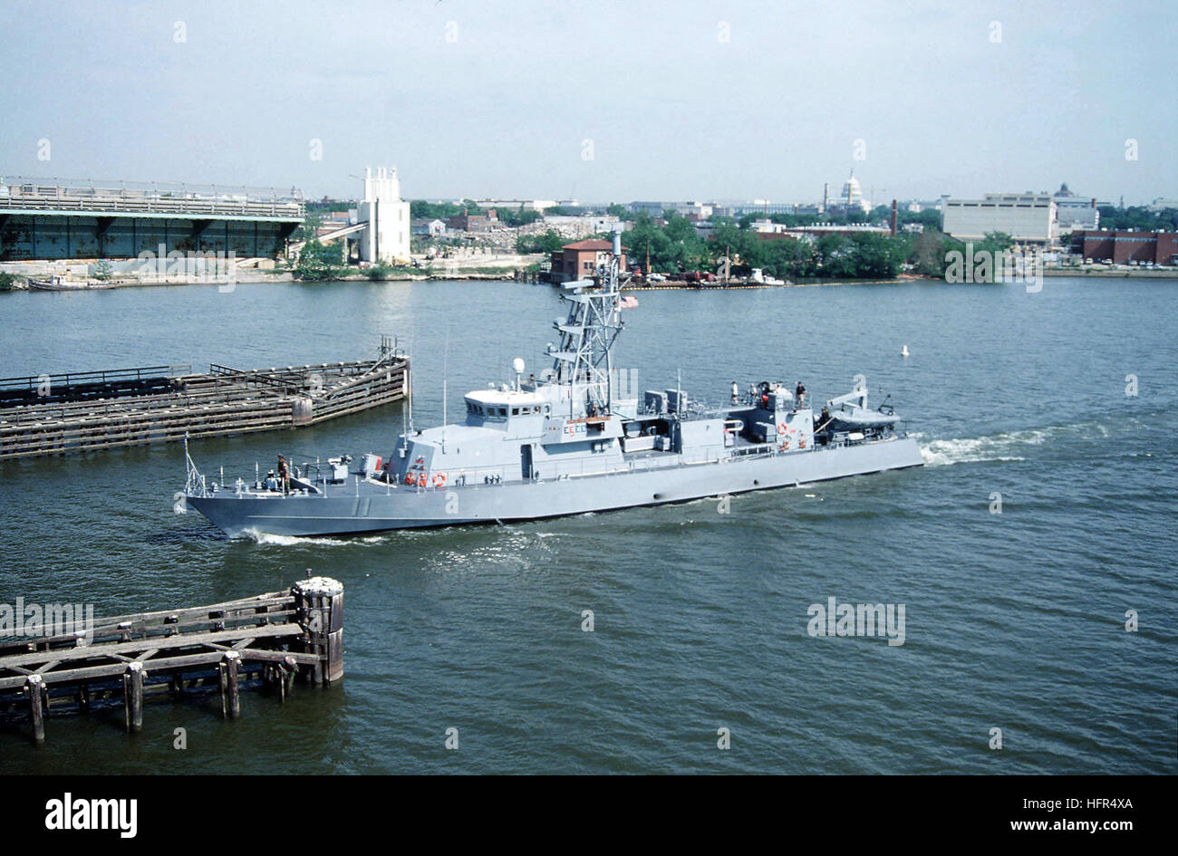 Port bow view of the US Navy (USN) Cyclone Class Coastal Defense Ship, USS WHIRLWIND (PC 11), underway on the Anacostia Stock Photo
