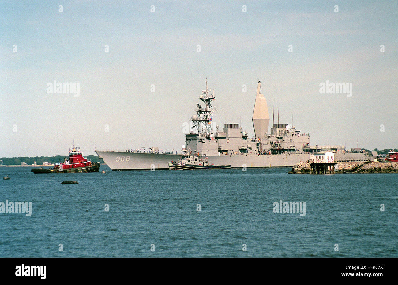 The Spruance Class Destroyer USS ARTHUR W. RADFORD (DD 968) returns to her home port at Norfolk, Virginia.  The - Stock Image