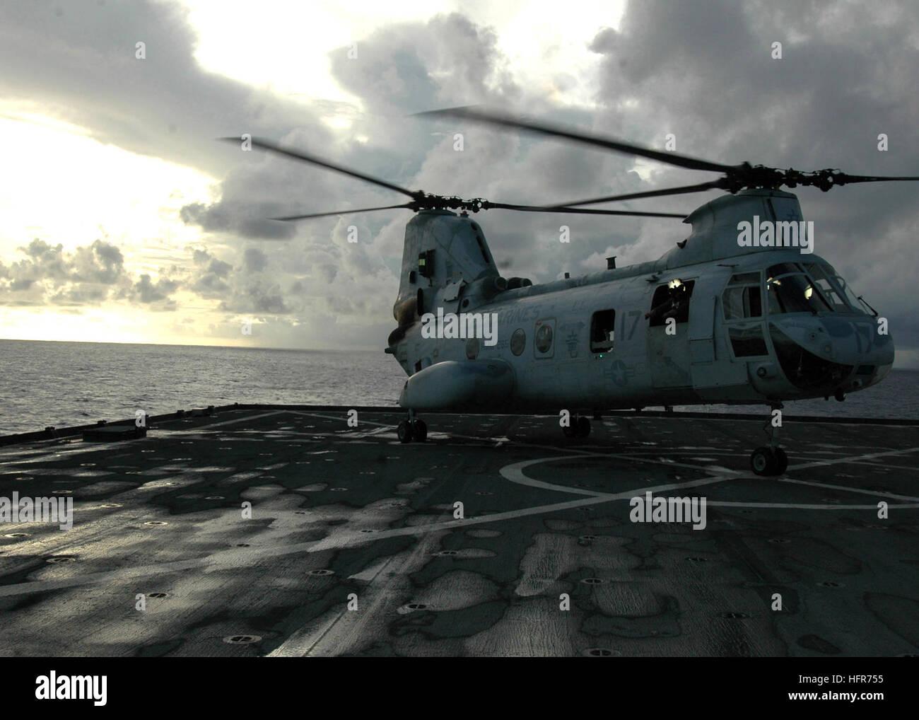 070601-N-6710M-009  SASEBO, Japan (June 1, 2007) Ð A CH-46 Sea Knight lands on the flight deck of USS Tortuga (LSD Stock Photo