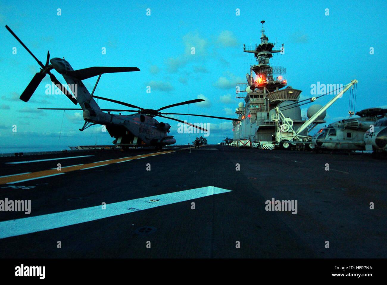 060613-N-6282K-001 Atlantic Ocean (June 13, 2006) - A CH-53E Sea Stallion sits on the flight deck of the multi-purpose - Stock Image