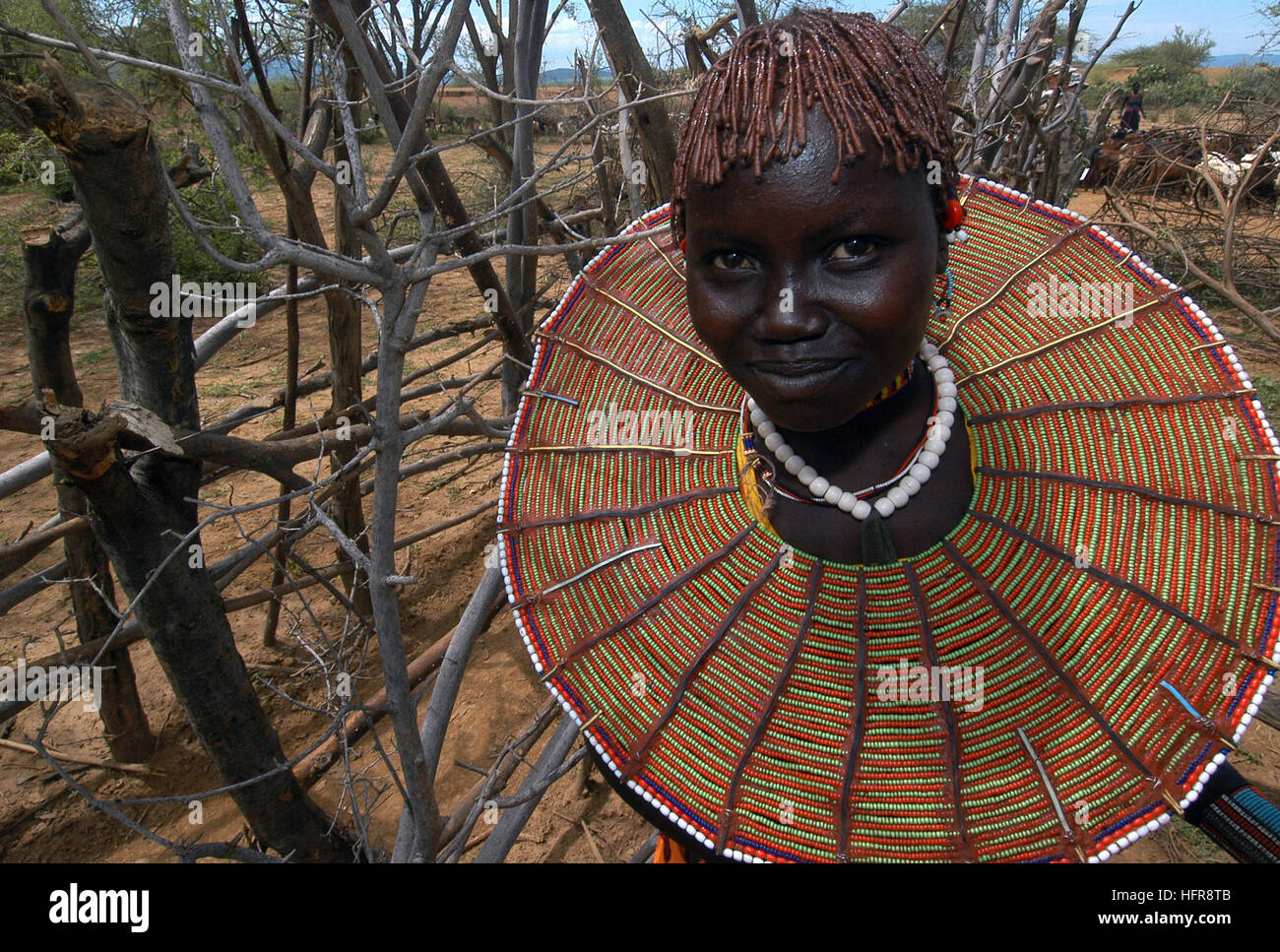 060815-N-0411D-045 Chemeril, Kenya Ð (Aug. 5, 2006) - A Pokot girl poses for a photograph during the Veterinary - Stock Image