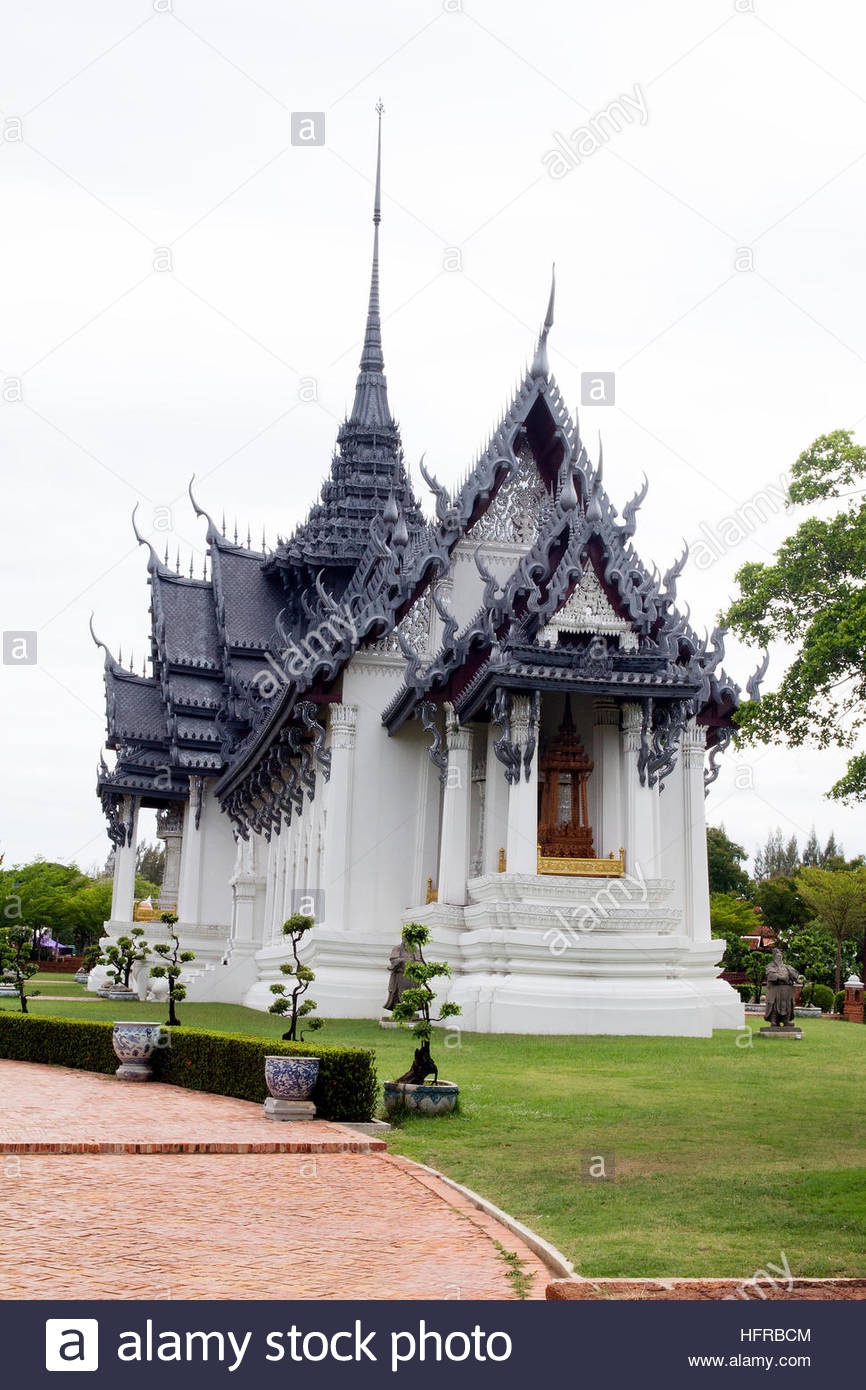 Mueang Boran temple white Thai - Stock Image
