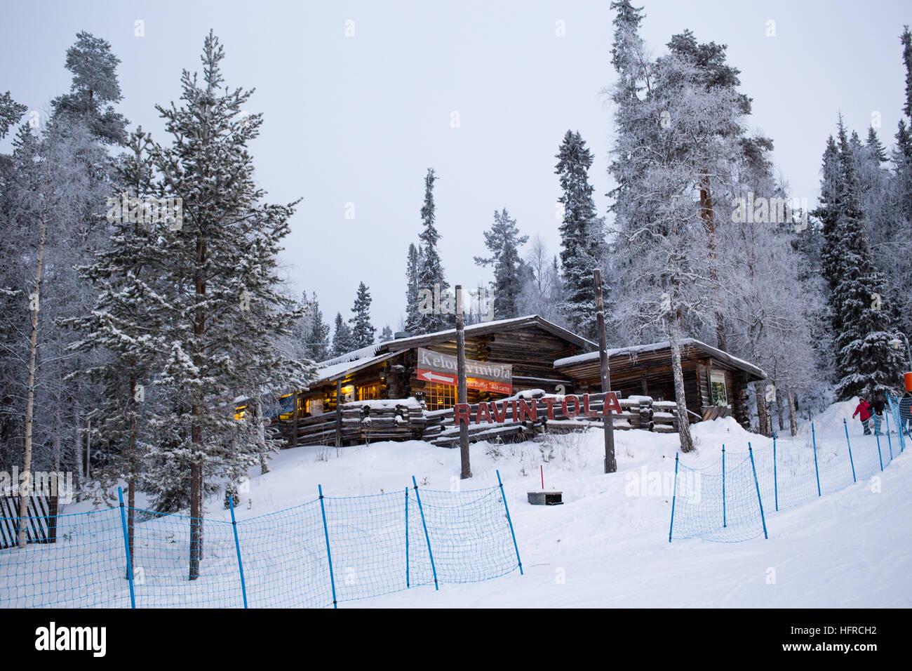 Log cabin restaurant, Salla Stock Photo