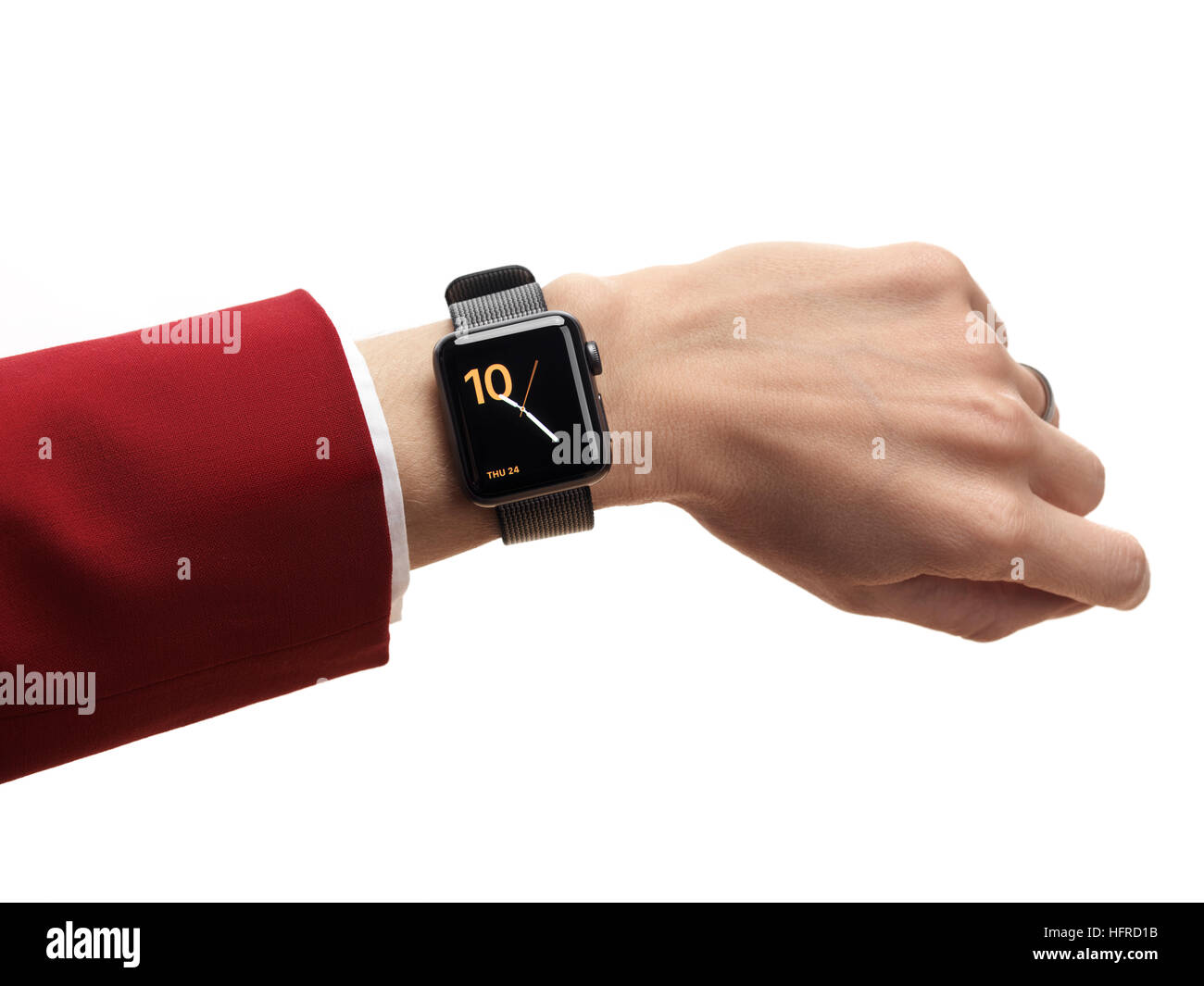 Woman hand with Apple Watch, series 2, smartwatch on her wrist - Stock Image