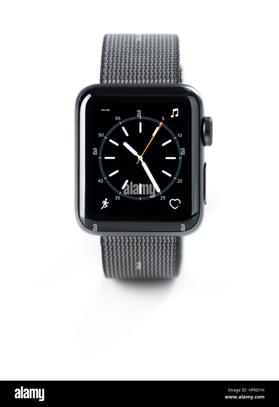 Apple Watch, smartwatch with analog clock dial on display front view - Stock Image