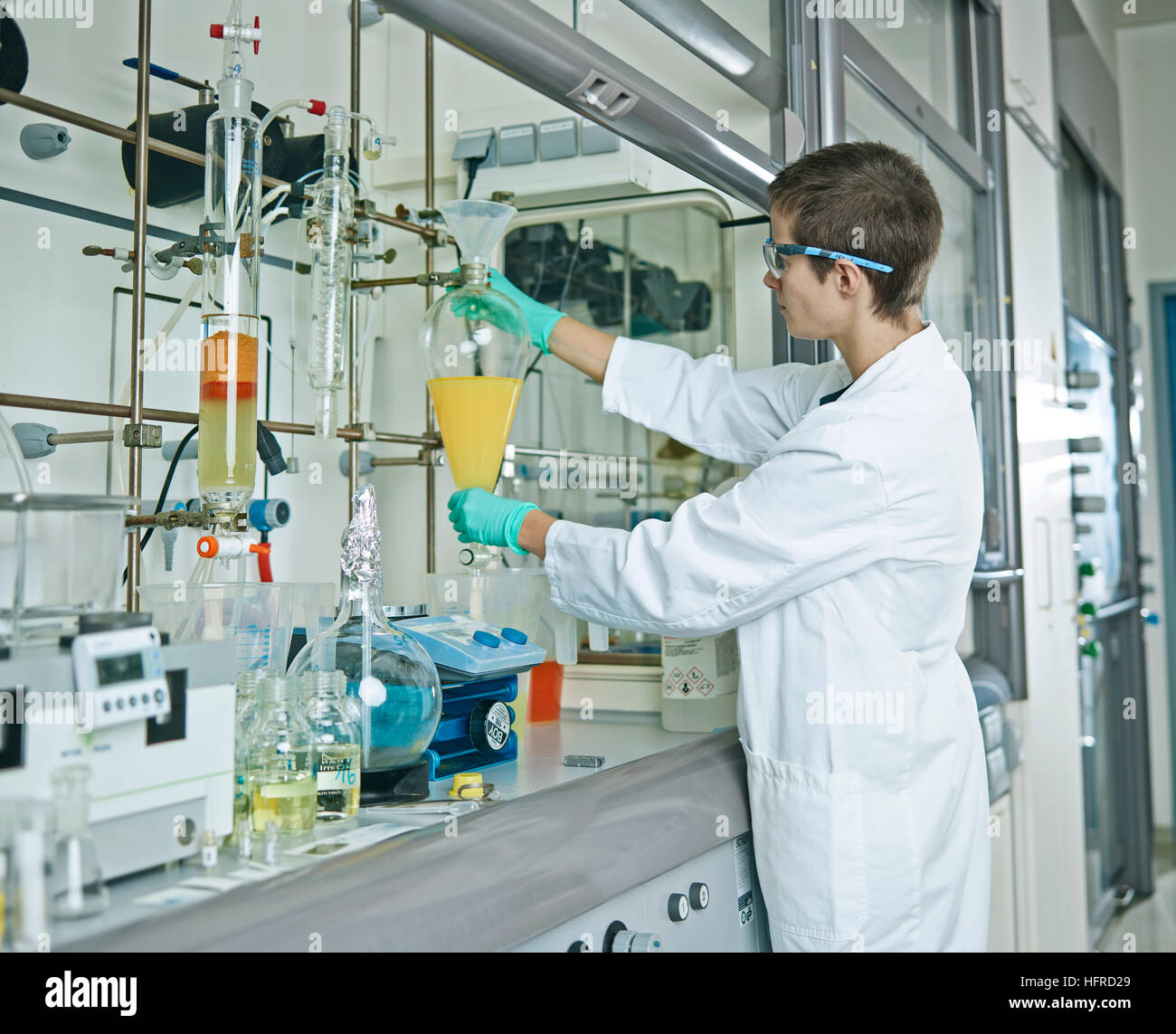Laboratory chemist in a laboratory, Tyrol, Austria - Stock Image