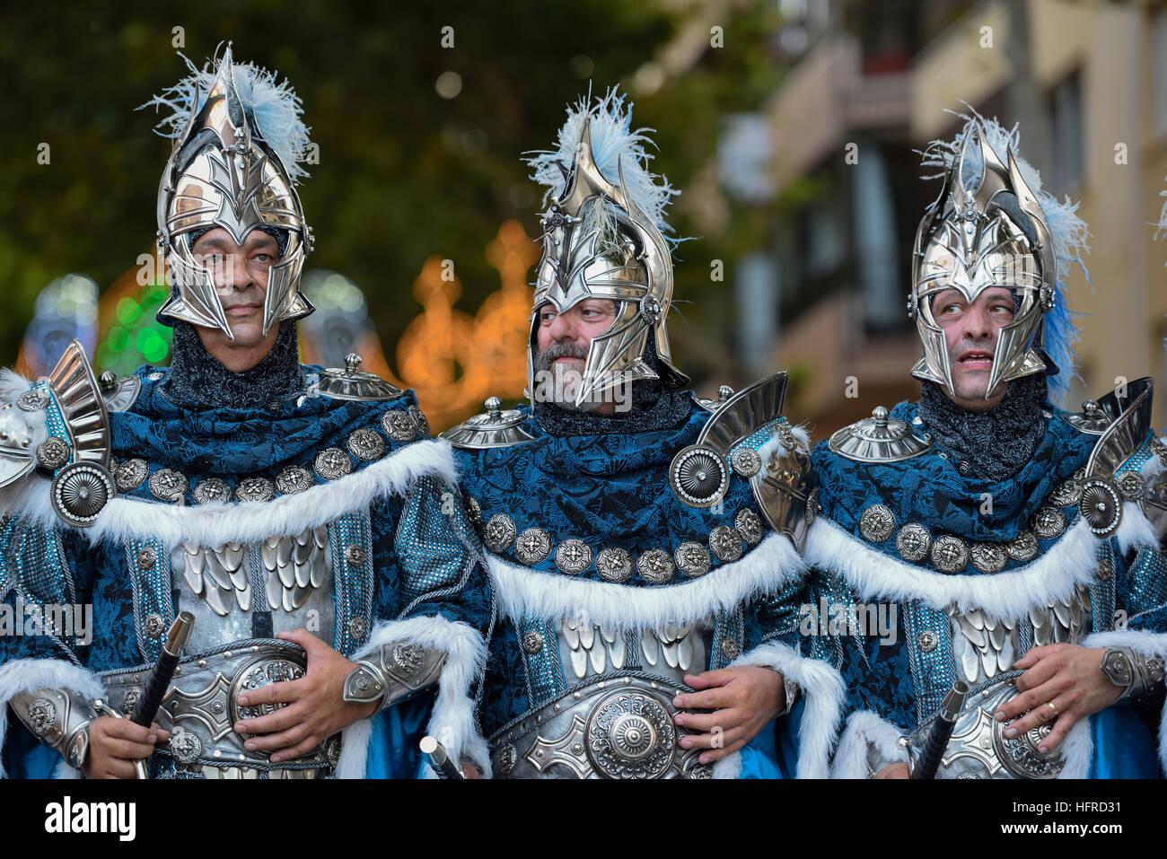 Parade, Moros y Cristianos, Moors and Christians, Dénia, Province of Valencia, Costa Blanca, Spain - Stock Image