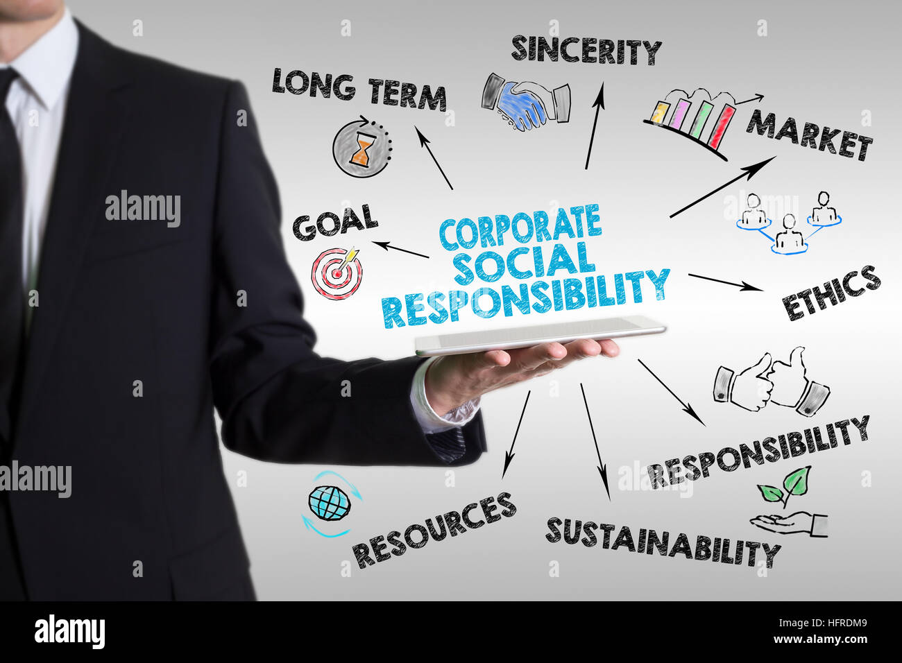 Corporate Social Responsibility Concept. Man holding a tablet computer. - Stock Image