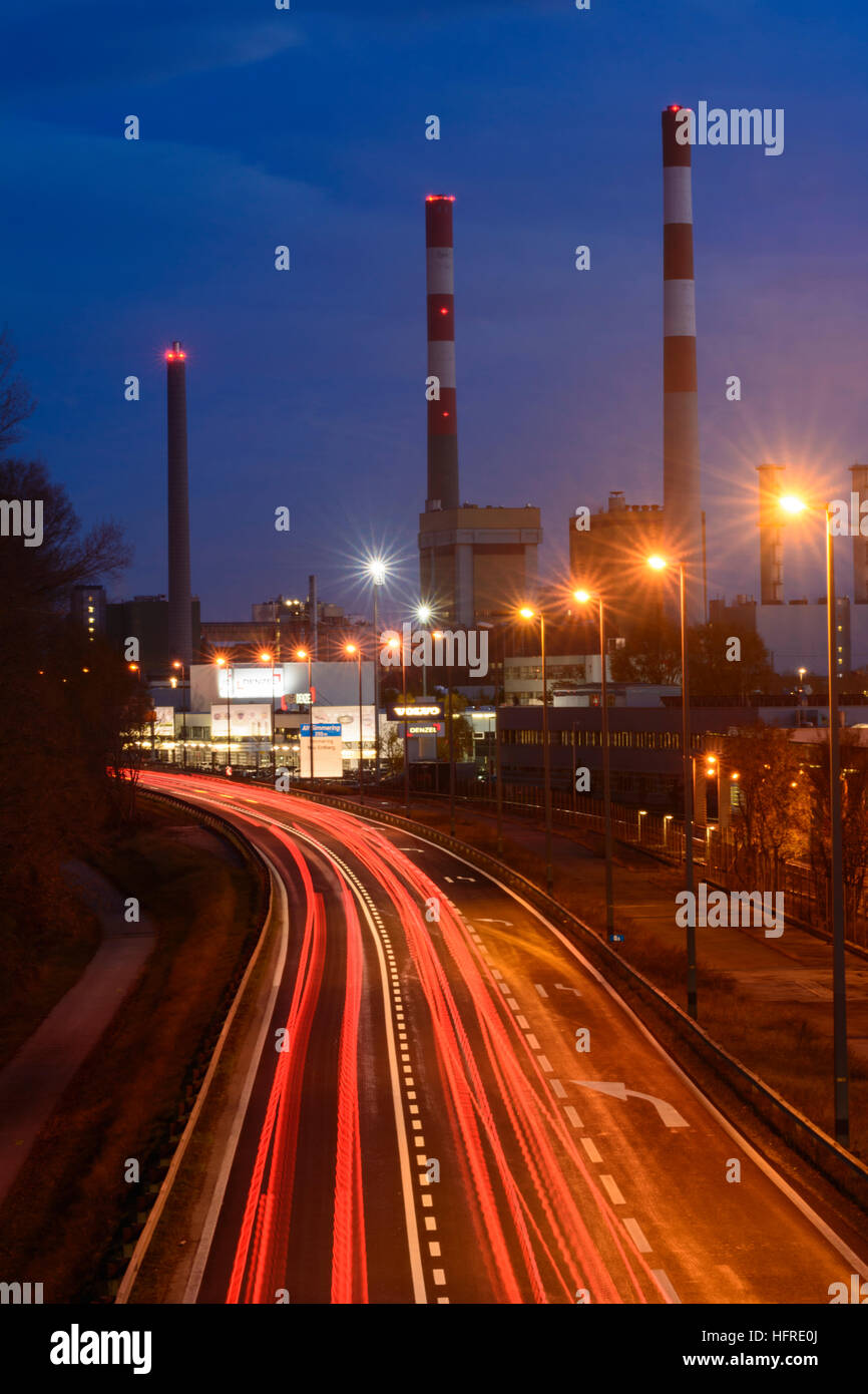 Wien, Vienna: Simmering power station, freeway, car light trails, Wien, Austria - Stock Image