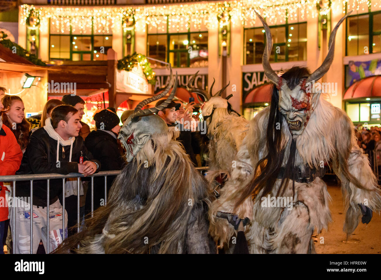 Wien Vienna Mask Procession Perchtenlauf With Krampus In The Stock