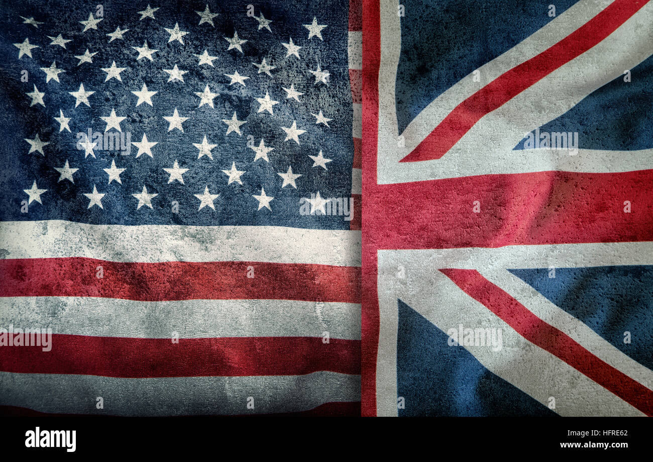 Mixed Flags of the USA and the UK. Union Jack flag.Flags of the USA and the UK Divided vertically. Stock Photo