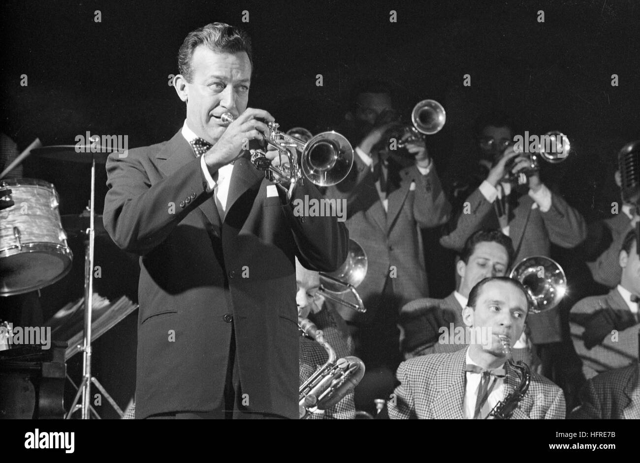 Harry James, performing with the Harry James band, at the Band Box in New York City. - Stock Image