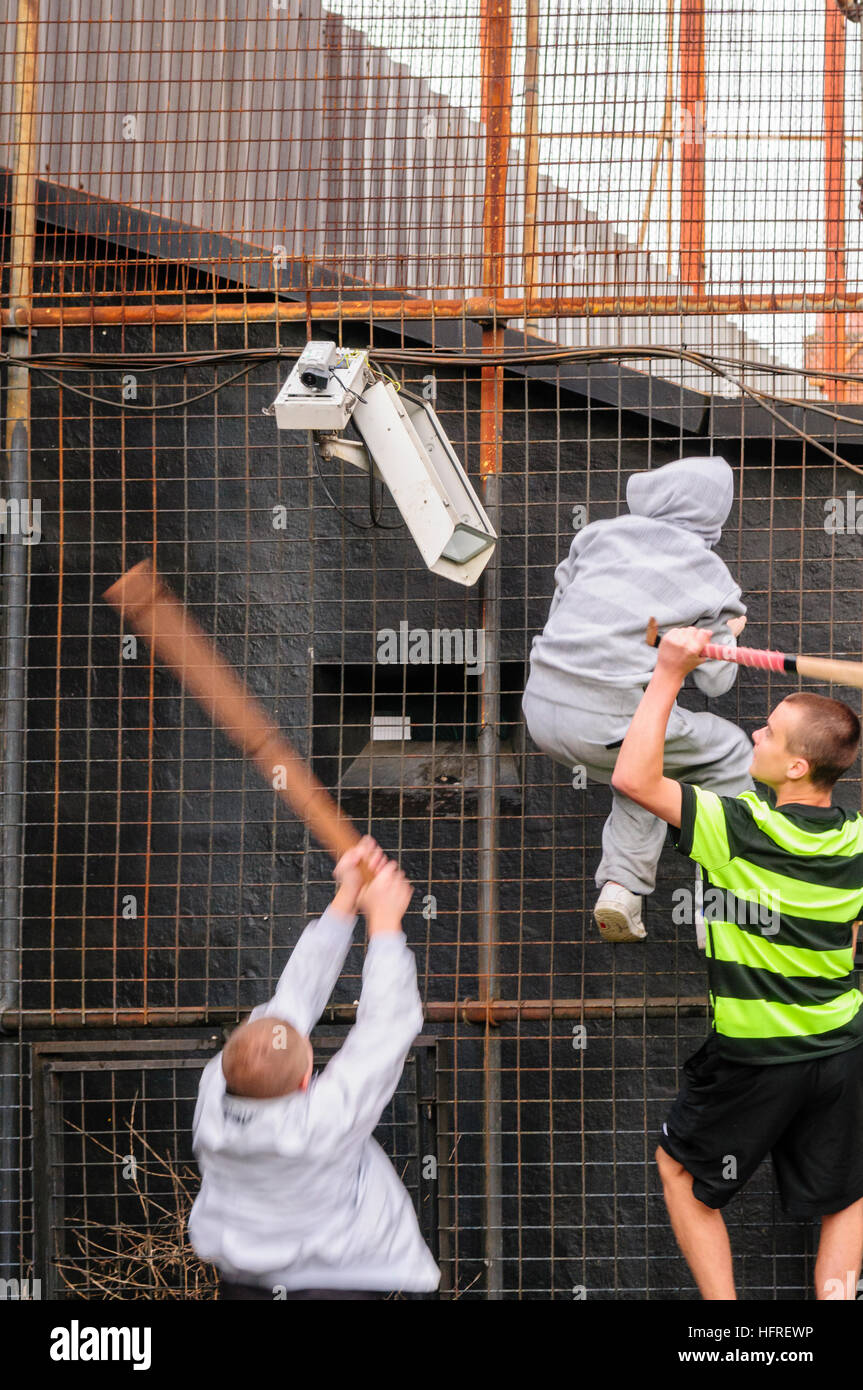 Republican youths use sticks to break CCTV cameras on a security fence on a PSNI police station - Stock Image