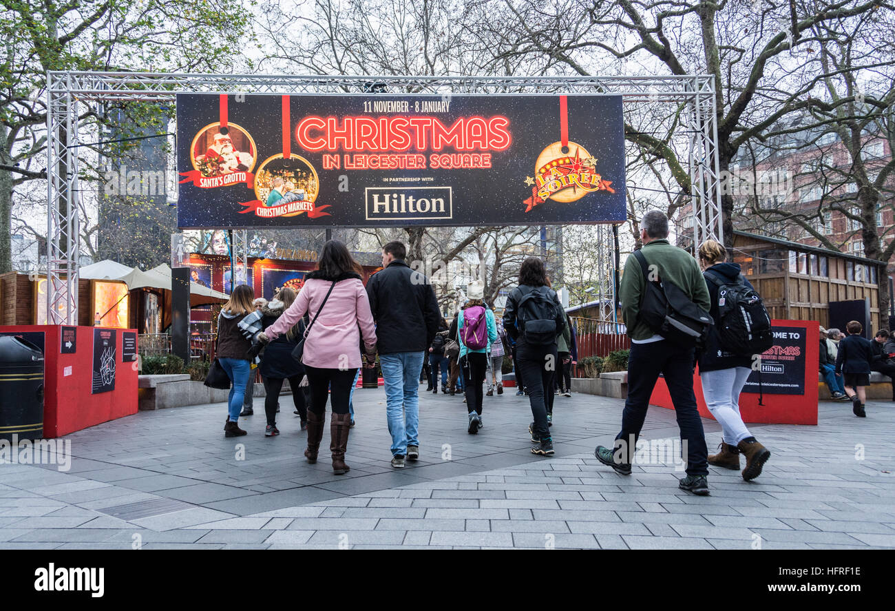 Christmas Market in London's Leicester Square, UK - Stock Image