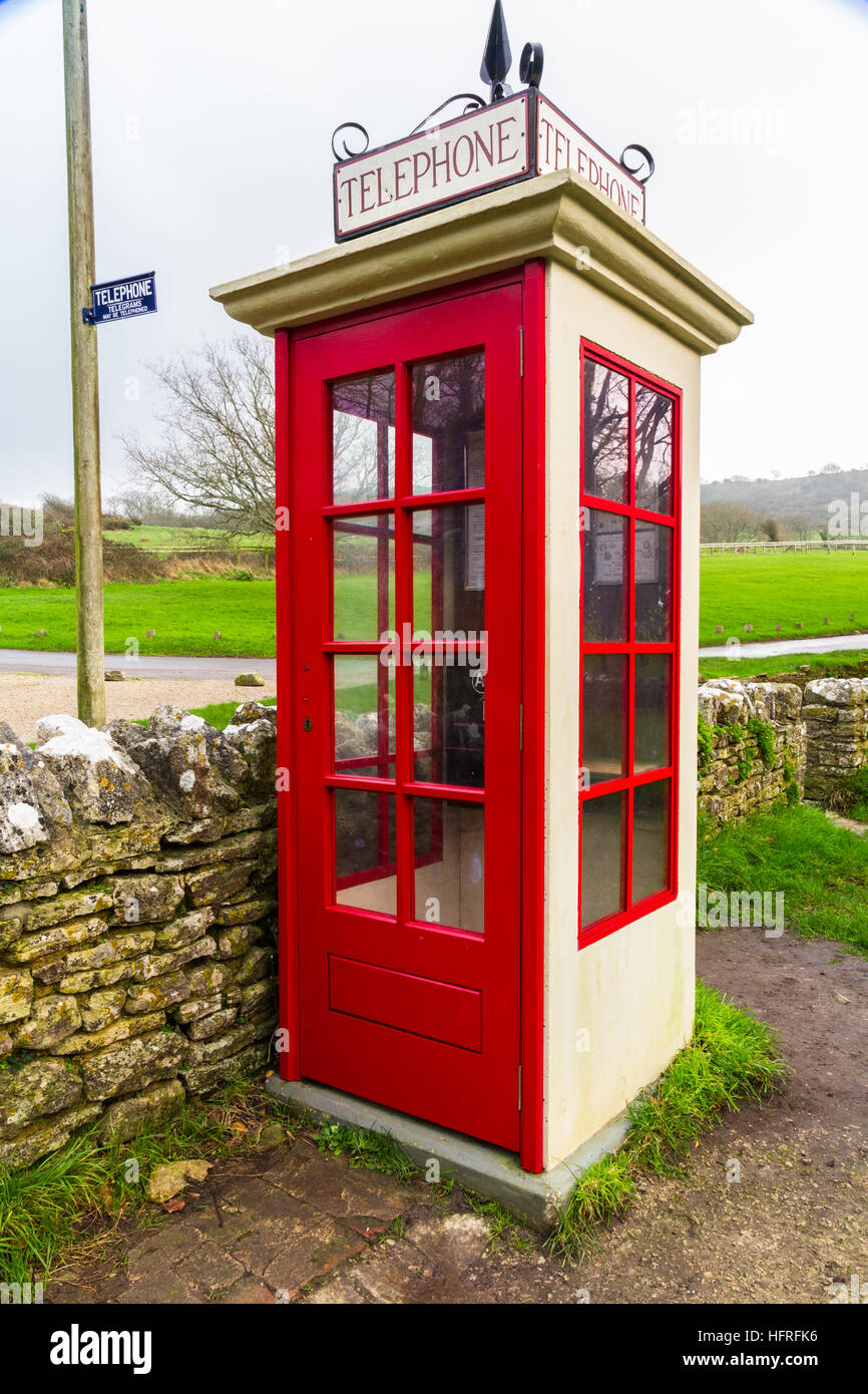 Earliest model of standard UK telephone kiosk, the K1. This is a replica after the original was accidentally destroyed - Stock Image