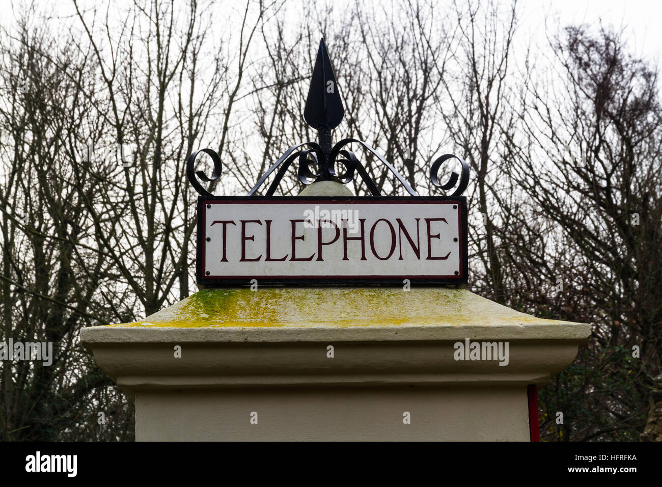 Top of earliest model of standard UK telephone kiosk, the K1. This is a replica after the original was accidentally - Stock Image