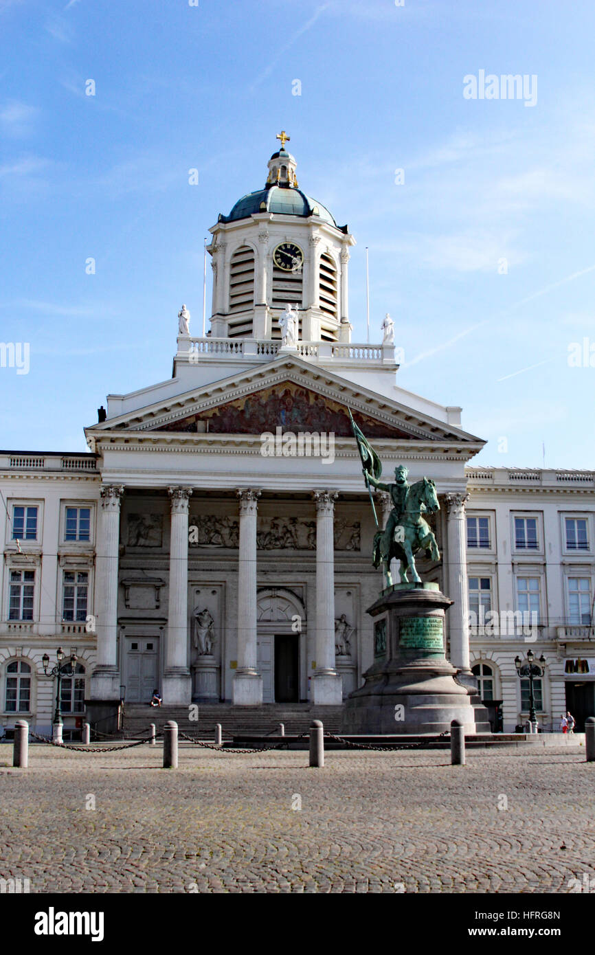 Royal Palace of Brussels Belgium with a statue of Godfrey Bouillon. Stock Photo