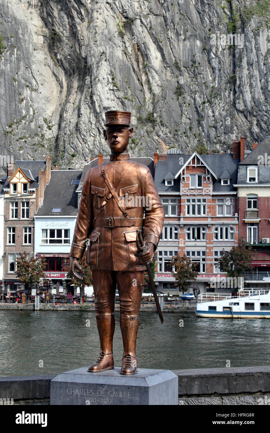 Statue of a young Charles de Gaulle in Dinant Belgium. He was shot in the leg during a major battle in Dinant and Stock Photo