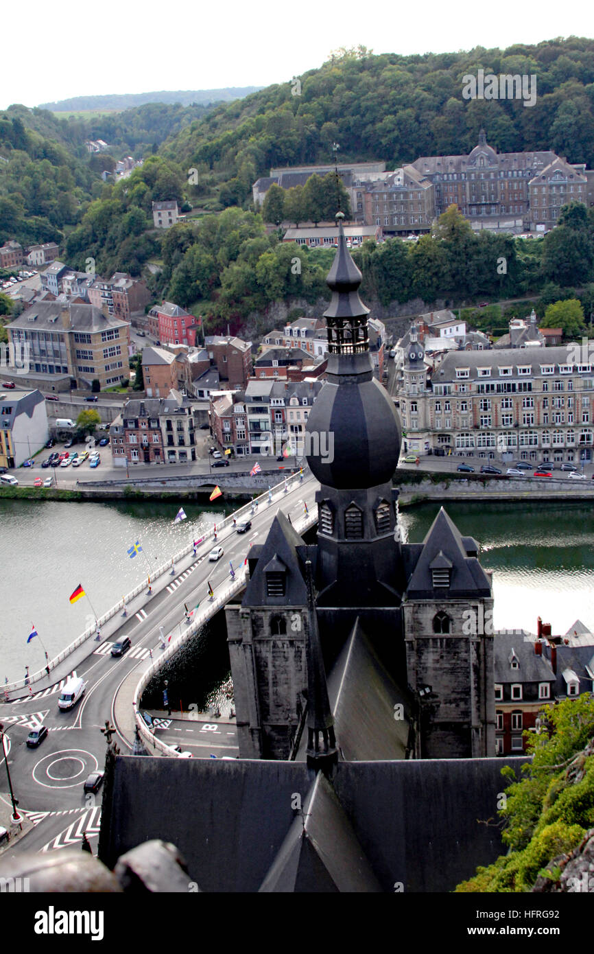 La Citadelle de Dinant offers spectacular views of Dinant, Beligum, and the Collegiate Church of Our Lady (Notre Stock Photo