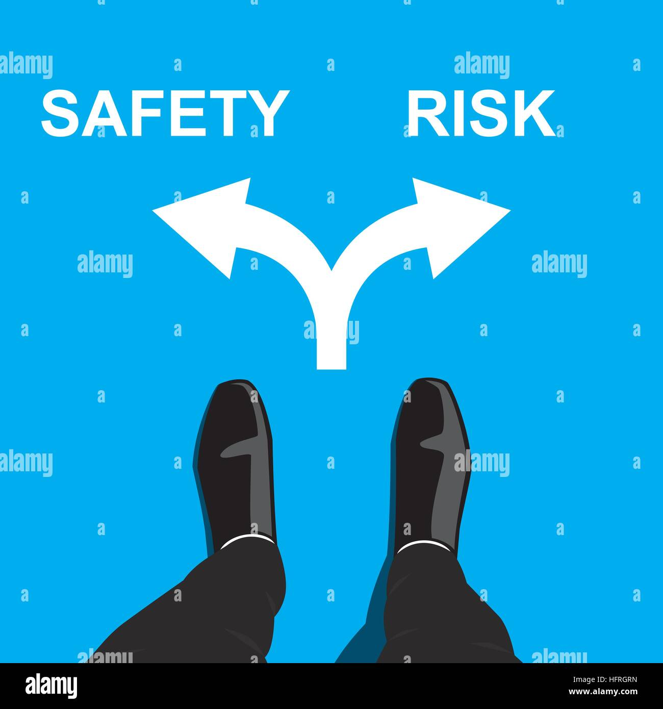 Businessman standing at the crossroad making decision - safety or risk - Stock Image