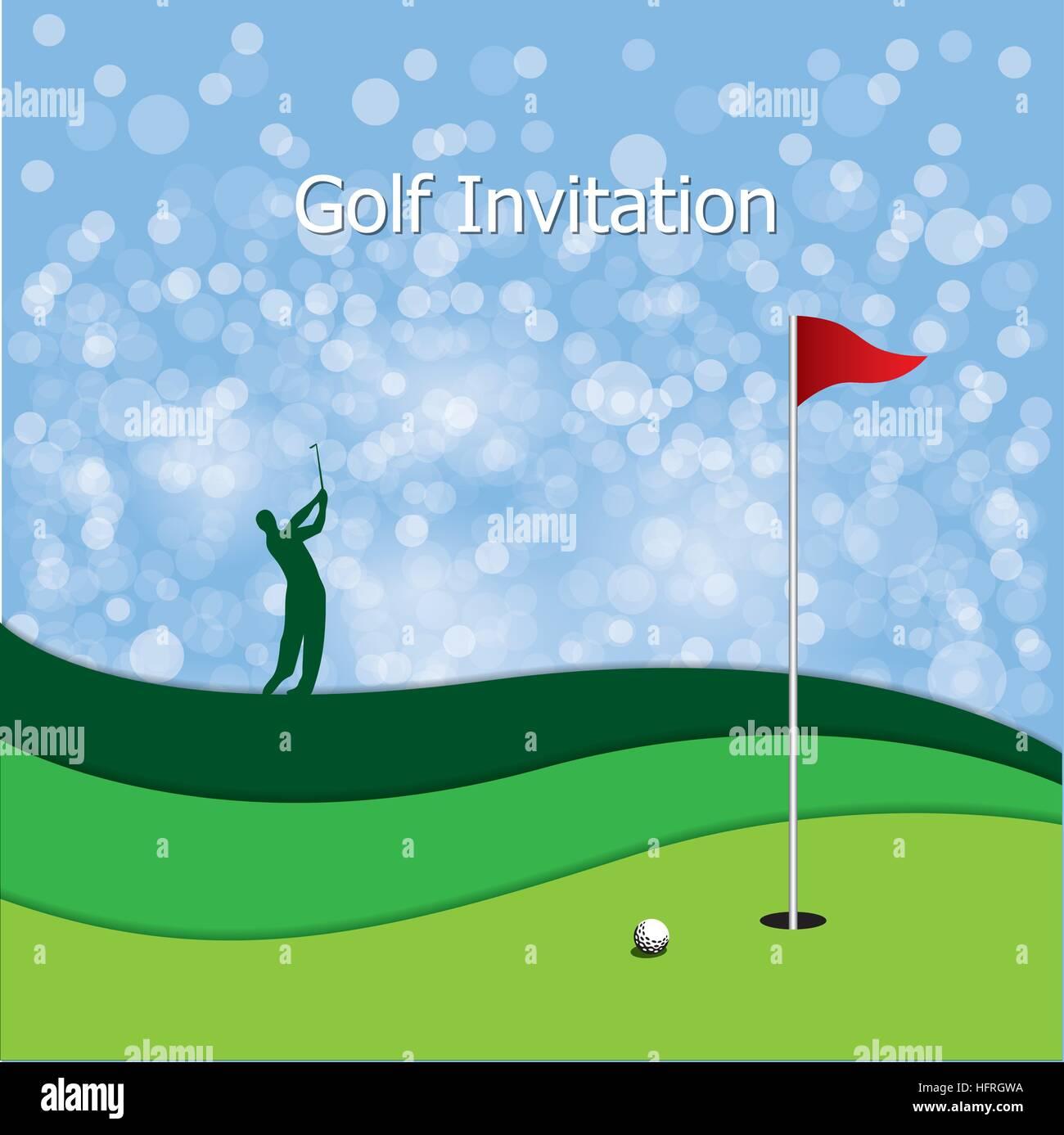 Golf tournament invitation graphic design silhouette golfer stock golf tournament invitation graphic design silhouette golfer swinging golf green golf ball flag and hole defocused light and blue background stopboris Choice Image