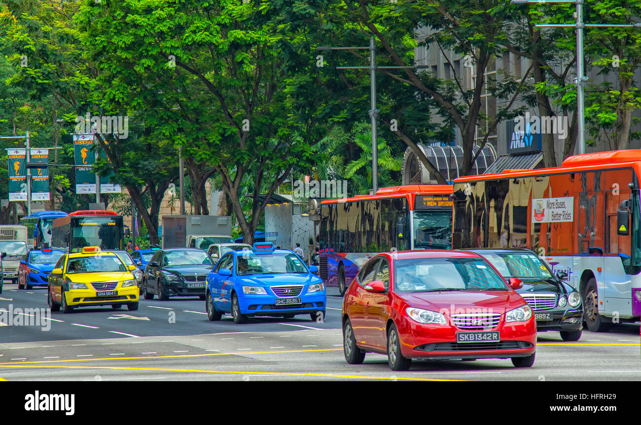 Traffic on Orchard street, Singapore - Stock Image