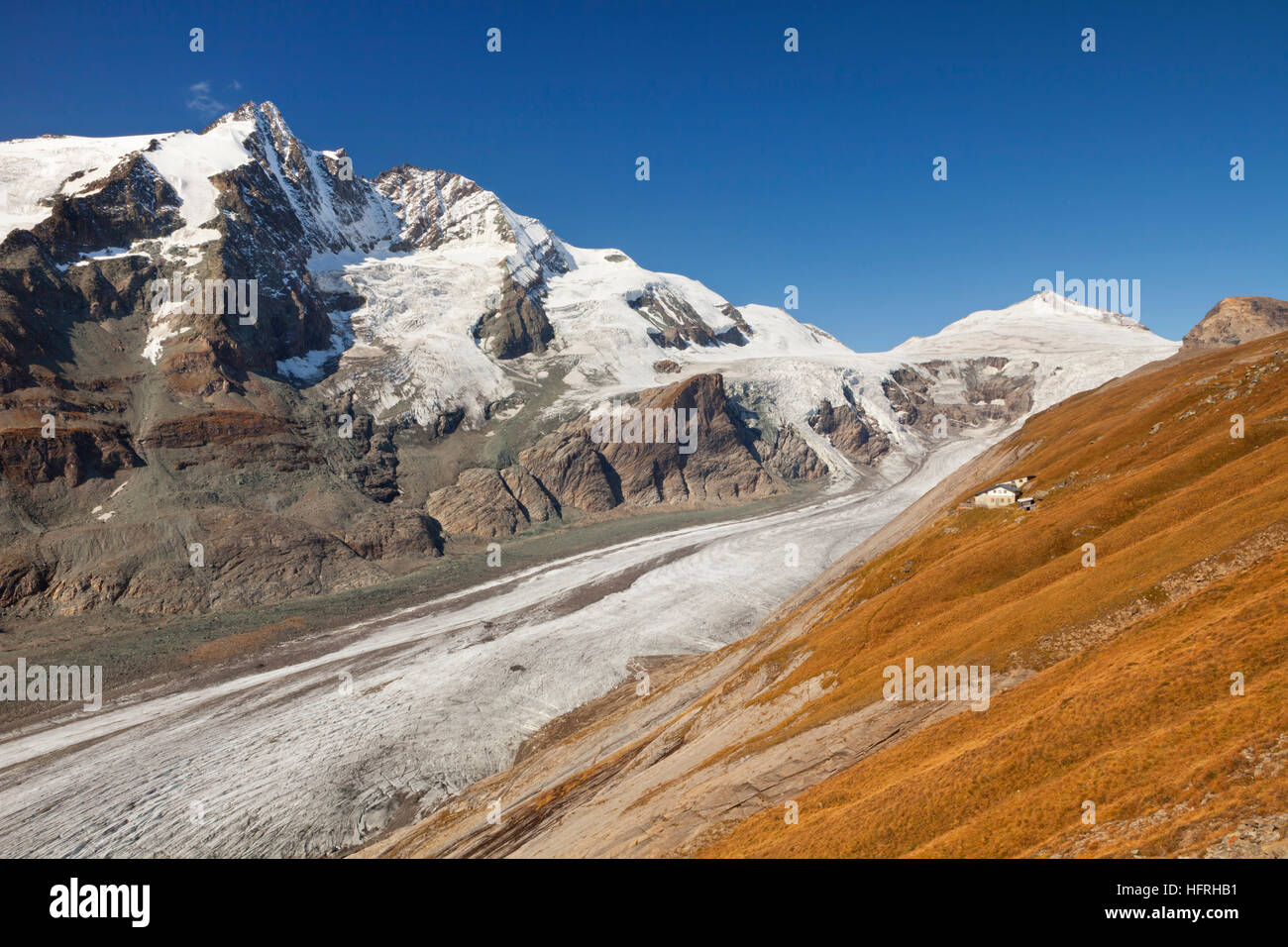 The Großglockner peak and Pasterze Glacier in the Hohe Tauern National Park in Austria on a clear day. - Stock Image