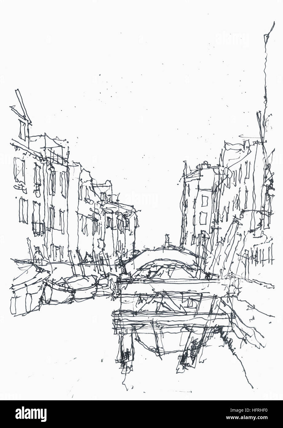 Canal street in Venice sketched from the path. - Stock Image