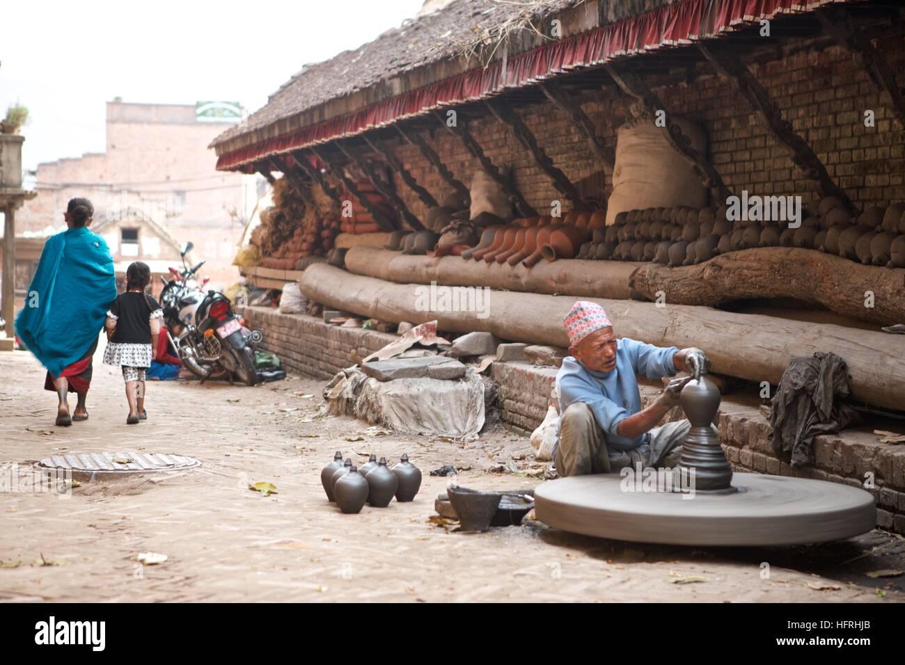Kathmandu Bhaktapur handmade pottery vases local manufacture clay - Stock Image