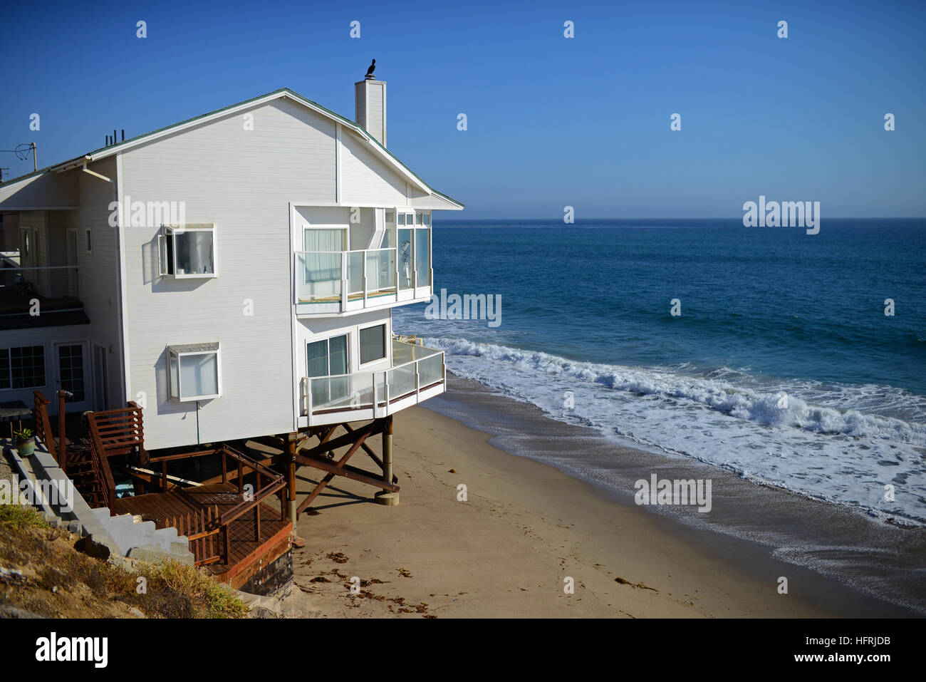 Beach Front Homes Along Pacific Coast Highway In Malibu