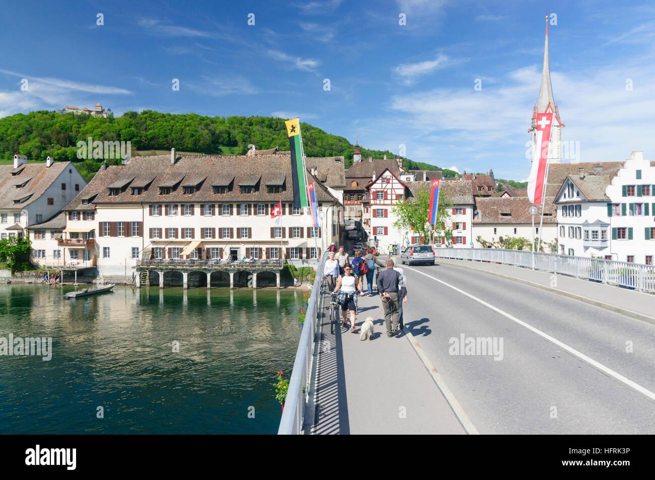 Stein am Rhein: Rhine bridge, Burg Hohenklingen, Monastery St. Georgen (with church tower), , Schaffhausen, Switzerland Stock Photo