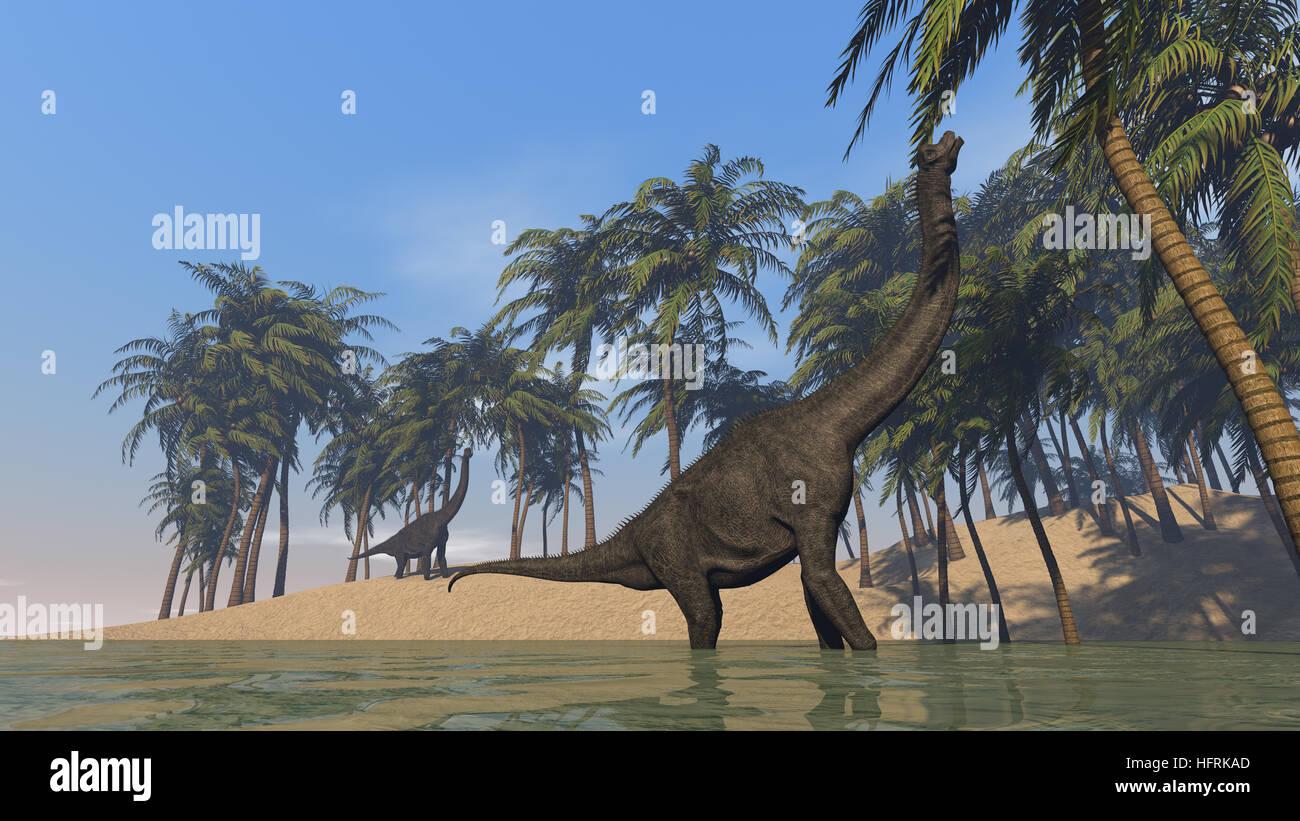 3d illustration of the grazing brachiosaurus Stock Photo