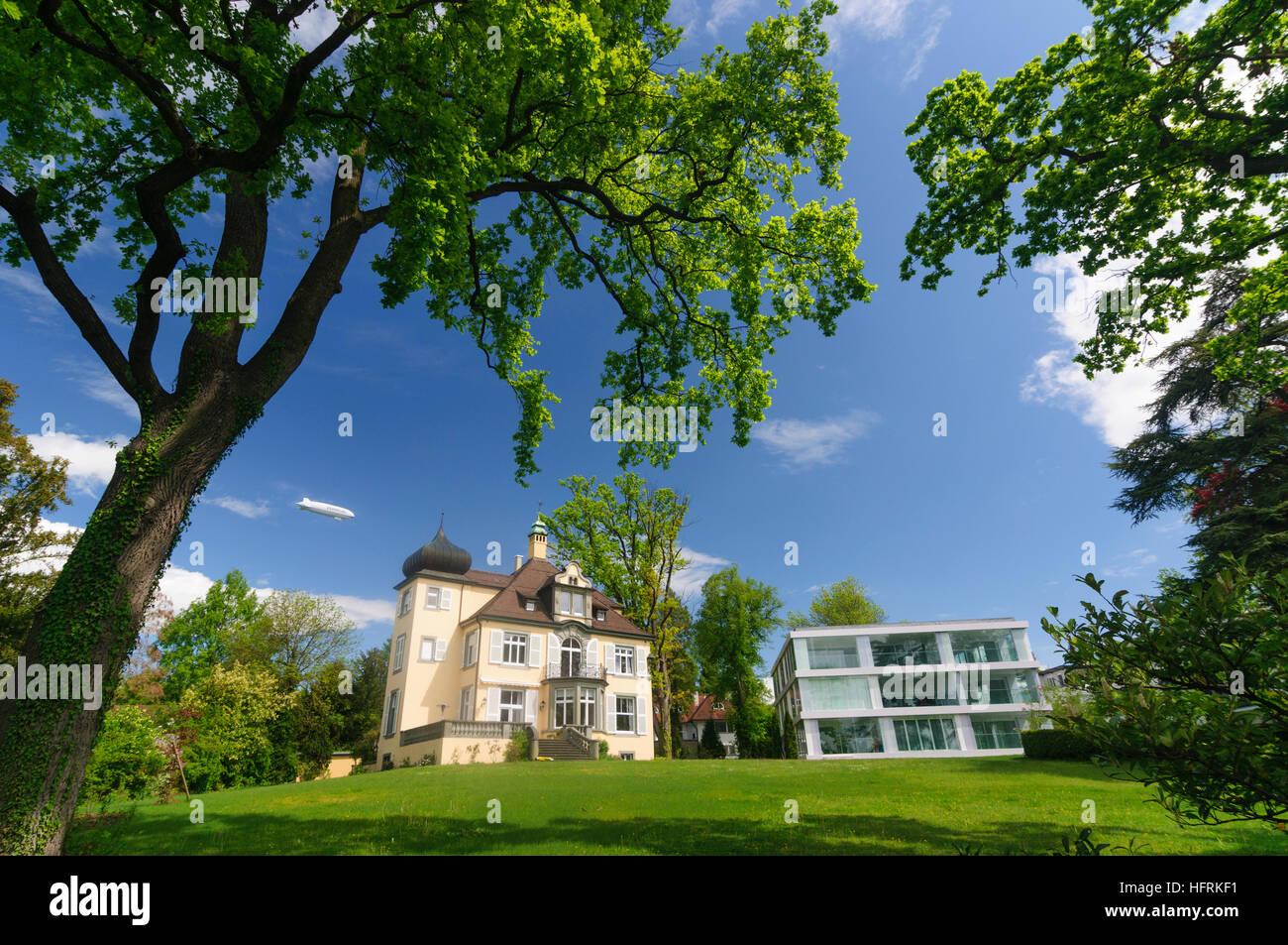 Konstanz, Constance: Villen mit Zeppelin NT, Bodensee, Lake Stock ...