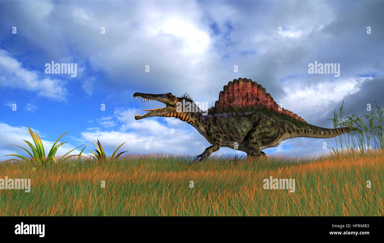 3d rendering of the hunting spinosaurus - Stock Image