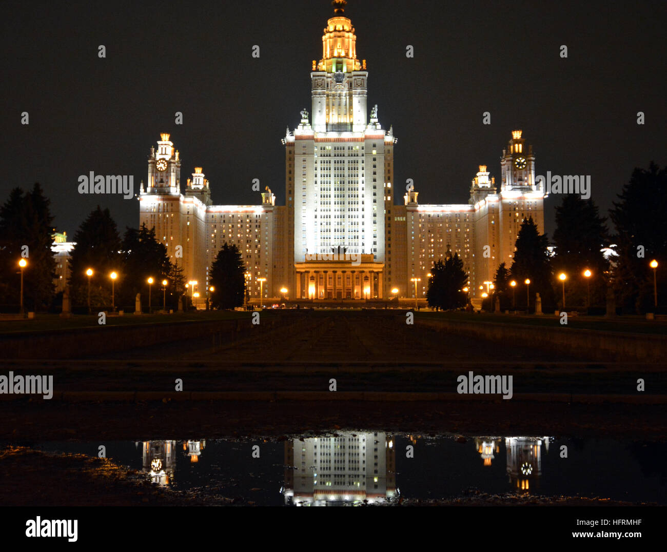 Moscow State University at night, Moscow, Russia. Founded by Mikhail Lomonosov in 1755. and designed by Lev Vladimirovich - Stock Image