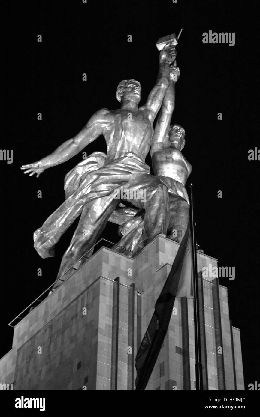 Famous sculpture 'Industrial Worker and Collective Farm Girl' by Vera Mukhina of 1937, at night, Moscow, - Stock Image