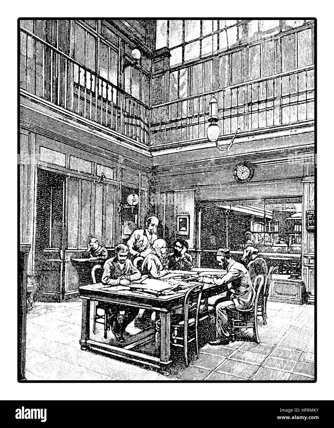 Editorial office of a newspaper with journalists composing their articles, vintage engraving - Stock Image