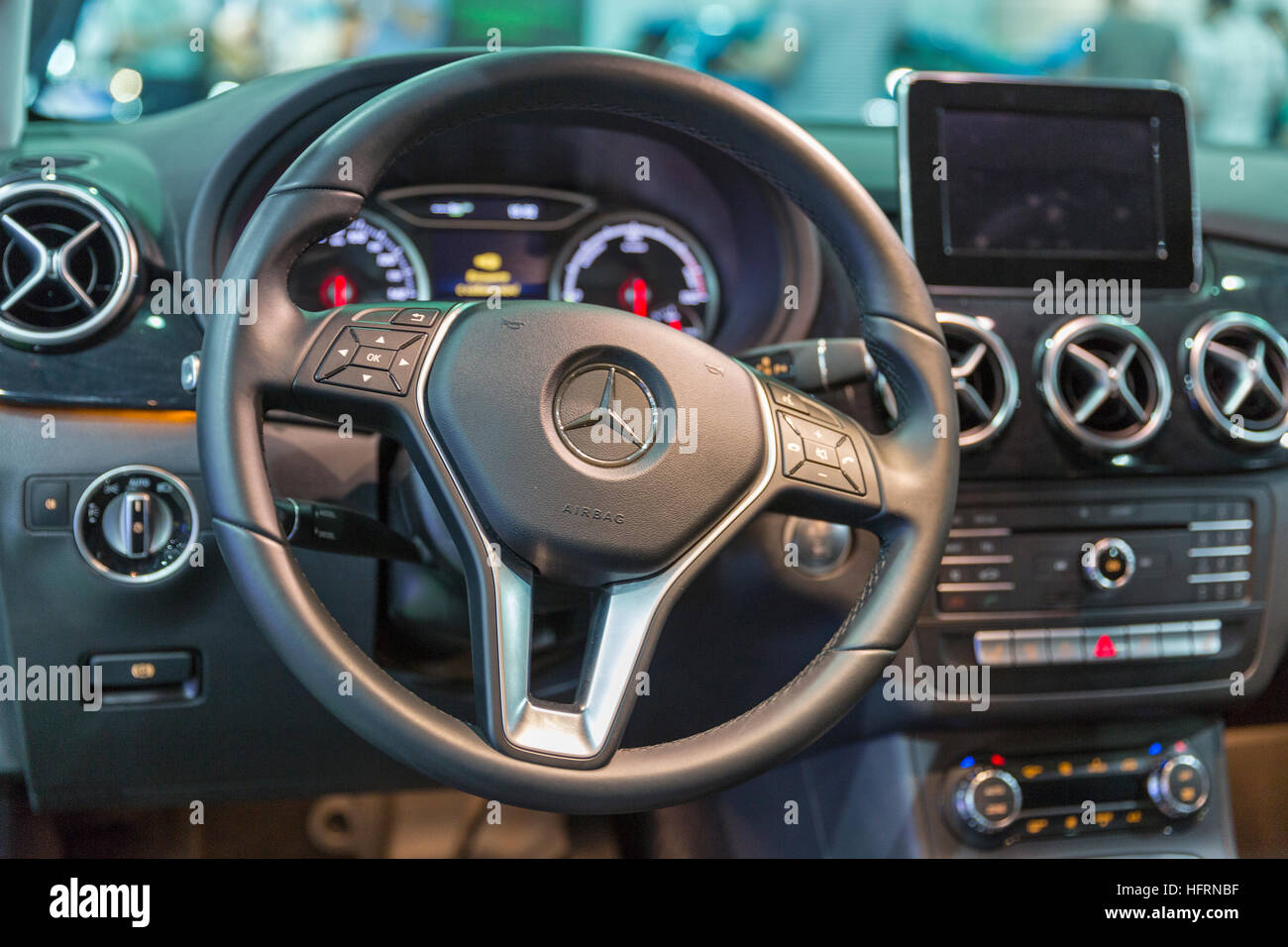 Mercedes-Benz B-class electric drive car interior closeup at First International Trade Show of Electric Vehicles Stock Photo