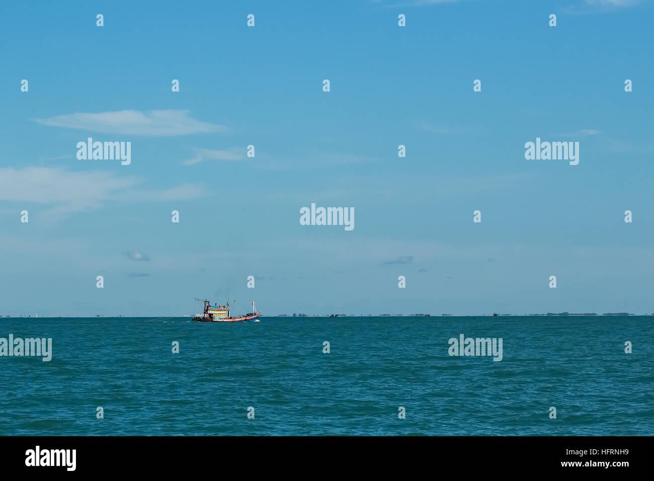 Fishing Boat on the sea at Gulf of Thailand - Stock Image